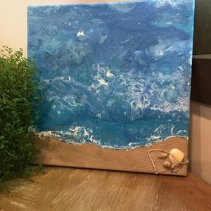 Original acrylic beach painting signed by artist